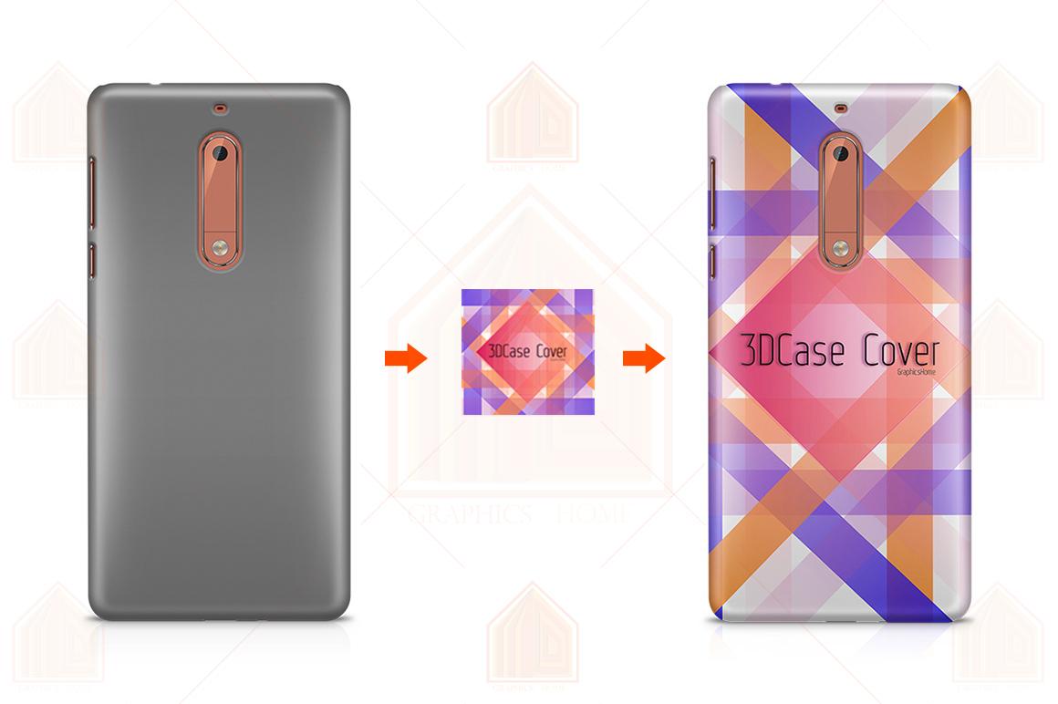 Nokia 3-5-6-8-3D Case Design Mockup Back View example image 3