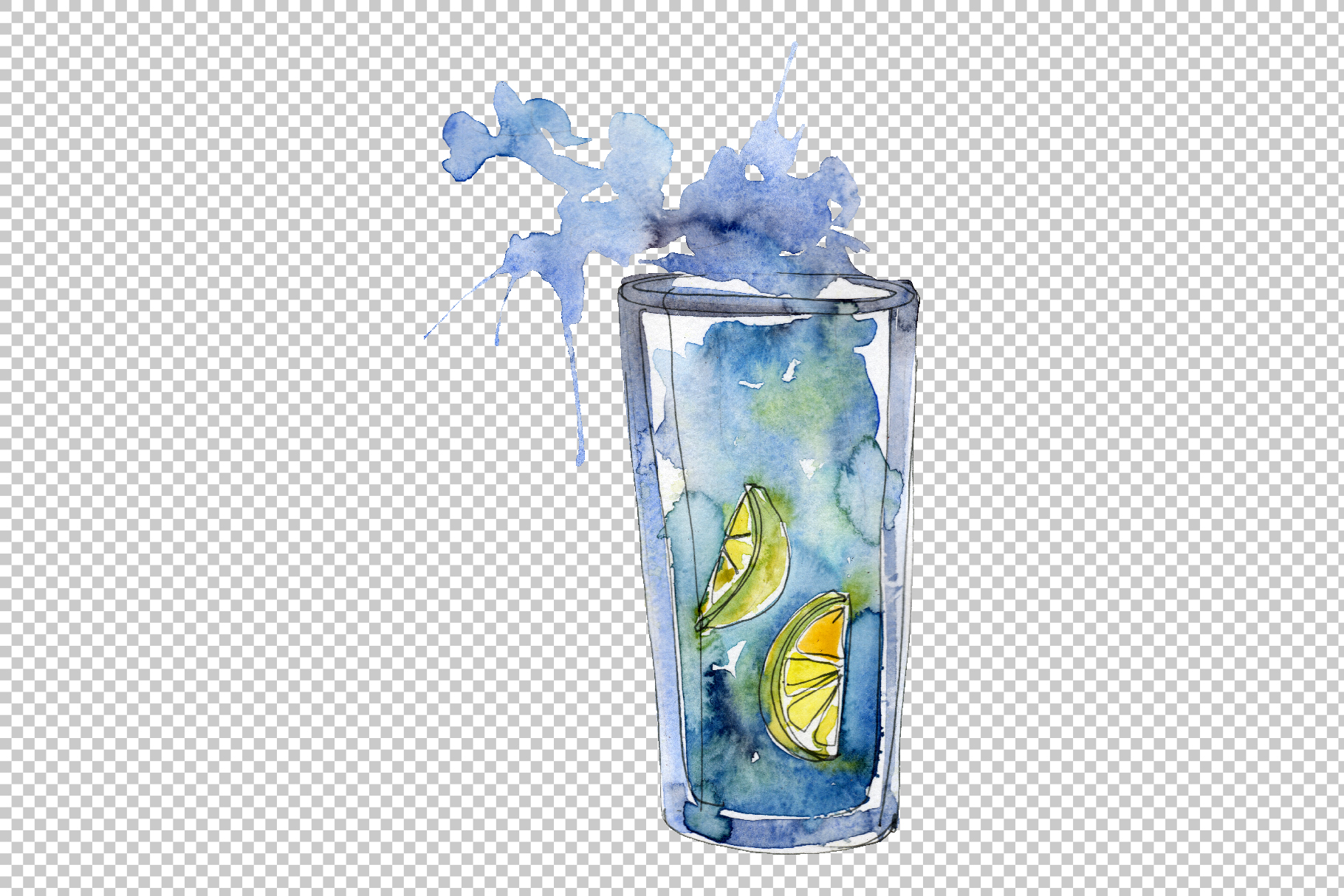 Gin Drinks Watercolor png example image 3