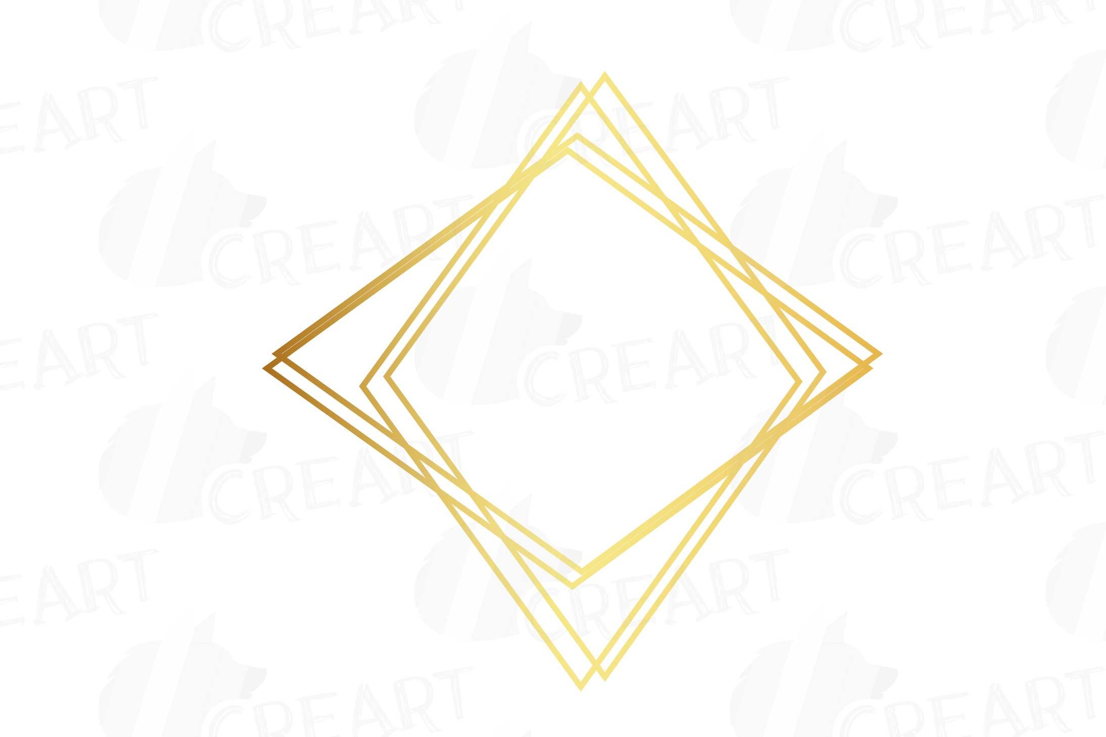 Elegant wedding geometric golden frames, lineal frames png example image 15