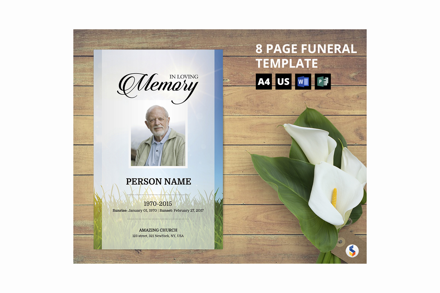 Sky and green Funeral Program Template example image 1
