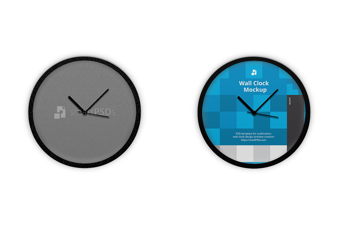 Round Wall Clock Design Mockup - 3 Views example image 1
