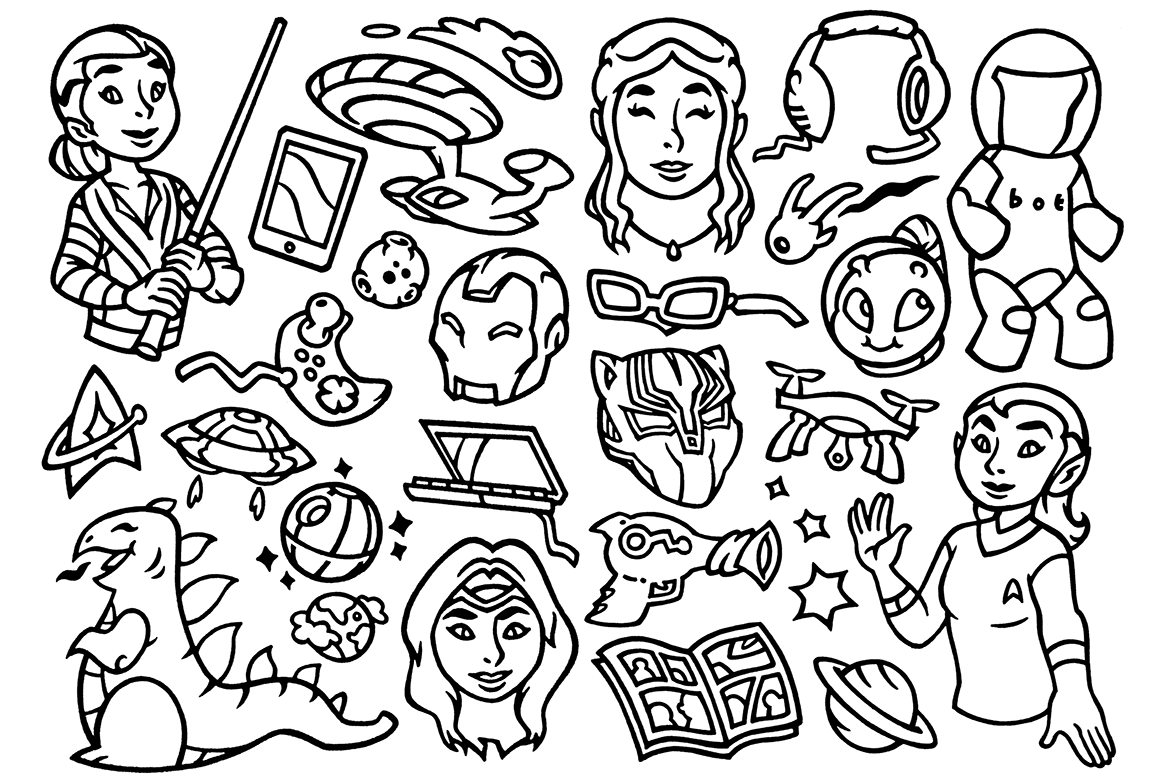 27 Nerd Culture - Scifi Movie Doodles Clipart example image 1