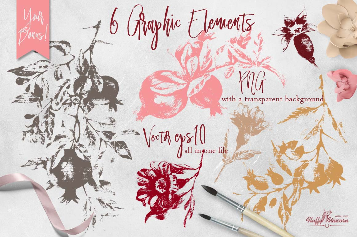 Burgundy Pomegranate Watercolor Set example image 5