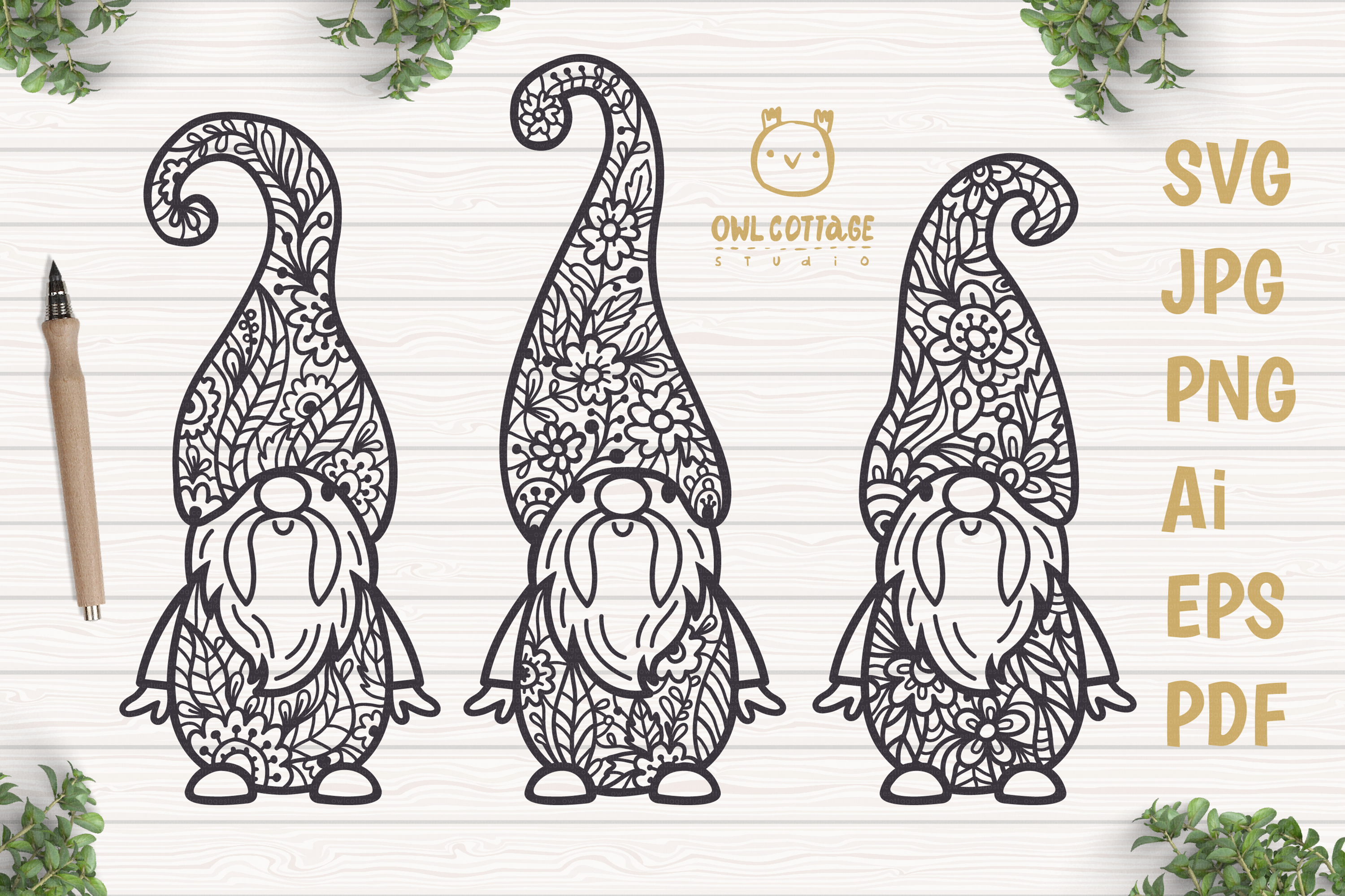 Scandinavian Floral Gnomes SVG, Gnome Clipart, Tomte example image 1
