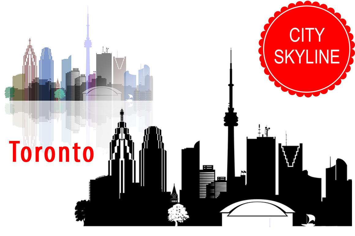 Toronto Vector silhouette, Ontario Canada Skyline USA city, SVG, JPG, PNG, DWG, CDR, EPS, AI example image 1