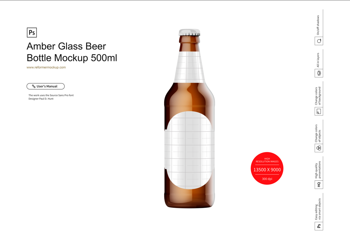 Amber Glass Beer Bottle Mockup 500ml example image 2