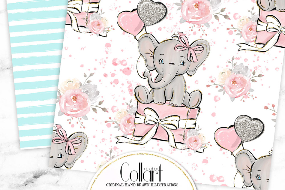Elephant digital paper, baby boy papers, baby girl papers example image 8
