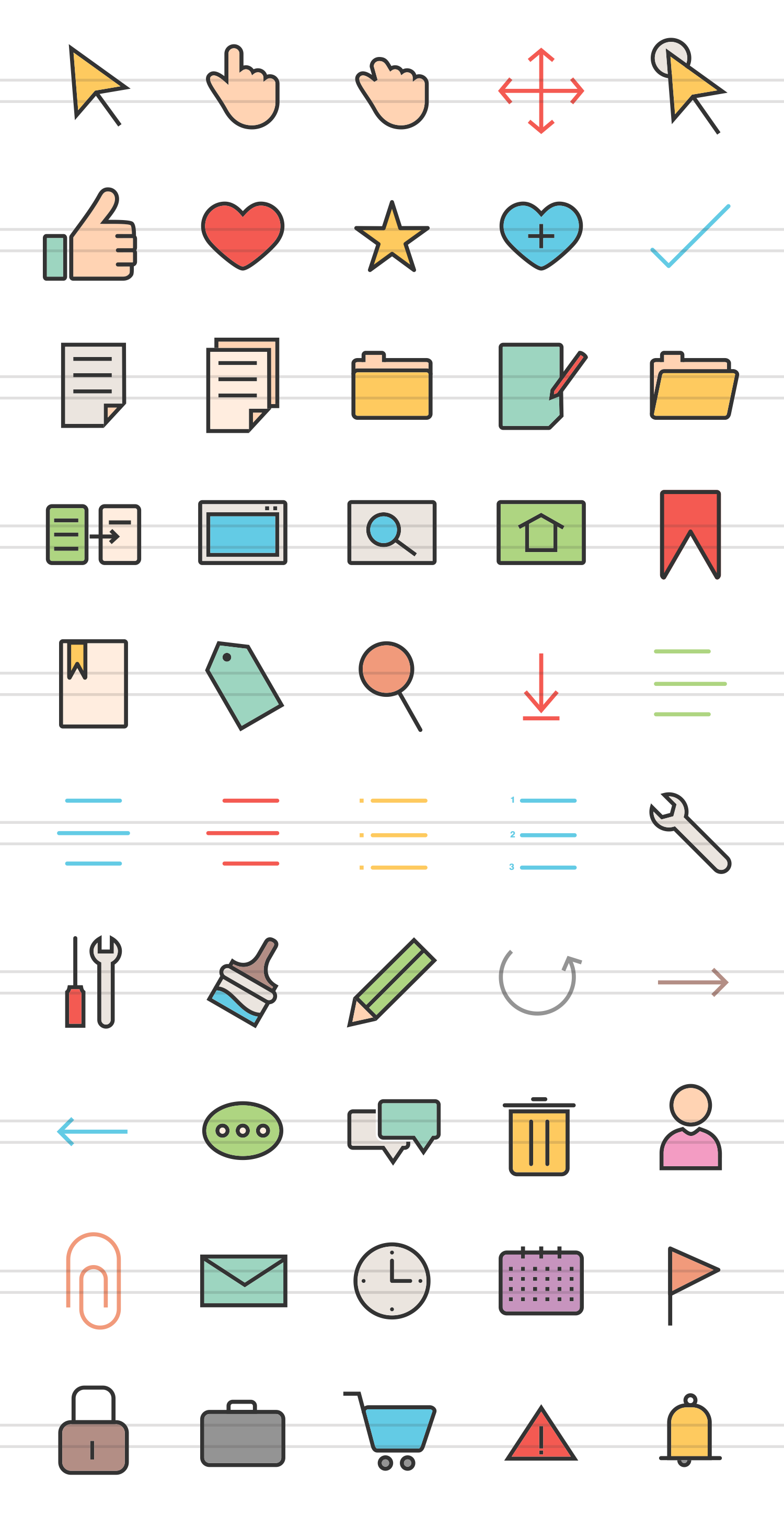 50 Web Interface Linear Multicolor Icons example image 2