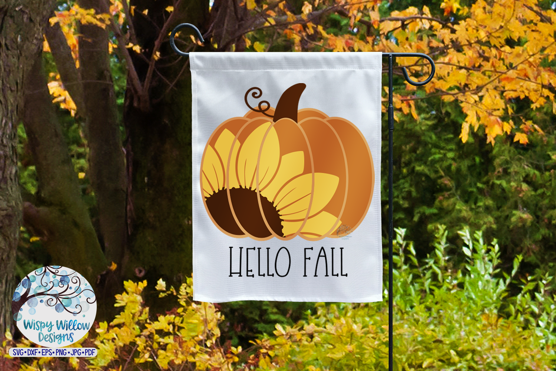 Hello Fall SVG | Sunflower Pumpkin SVG | Fall SVG Cut File example image 2