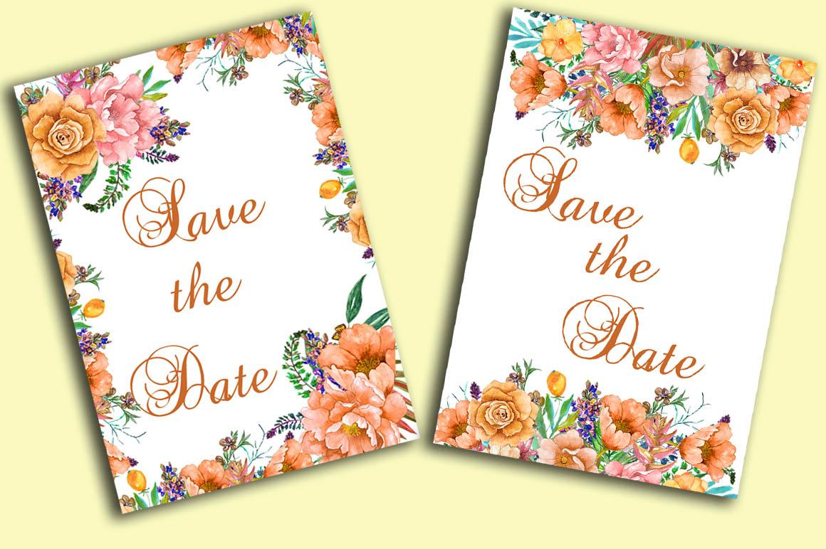 Watercolor floral clip art example image 5