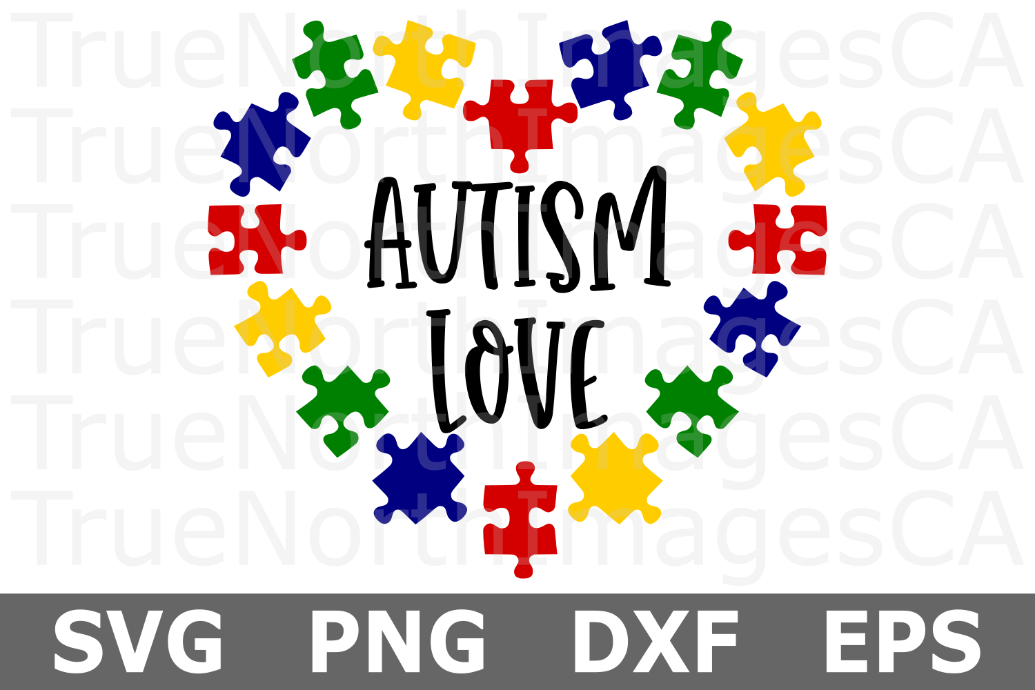 Autism Love Puzzle Heart - An Autism Awareness SVG Cut File example image 1