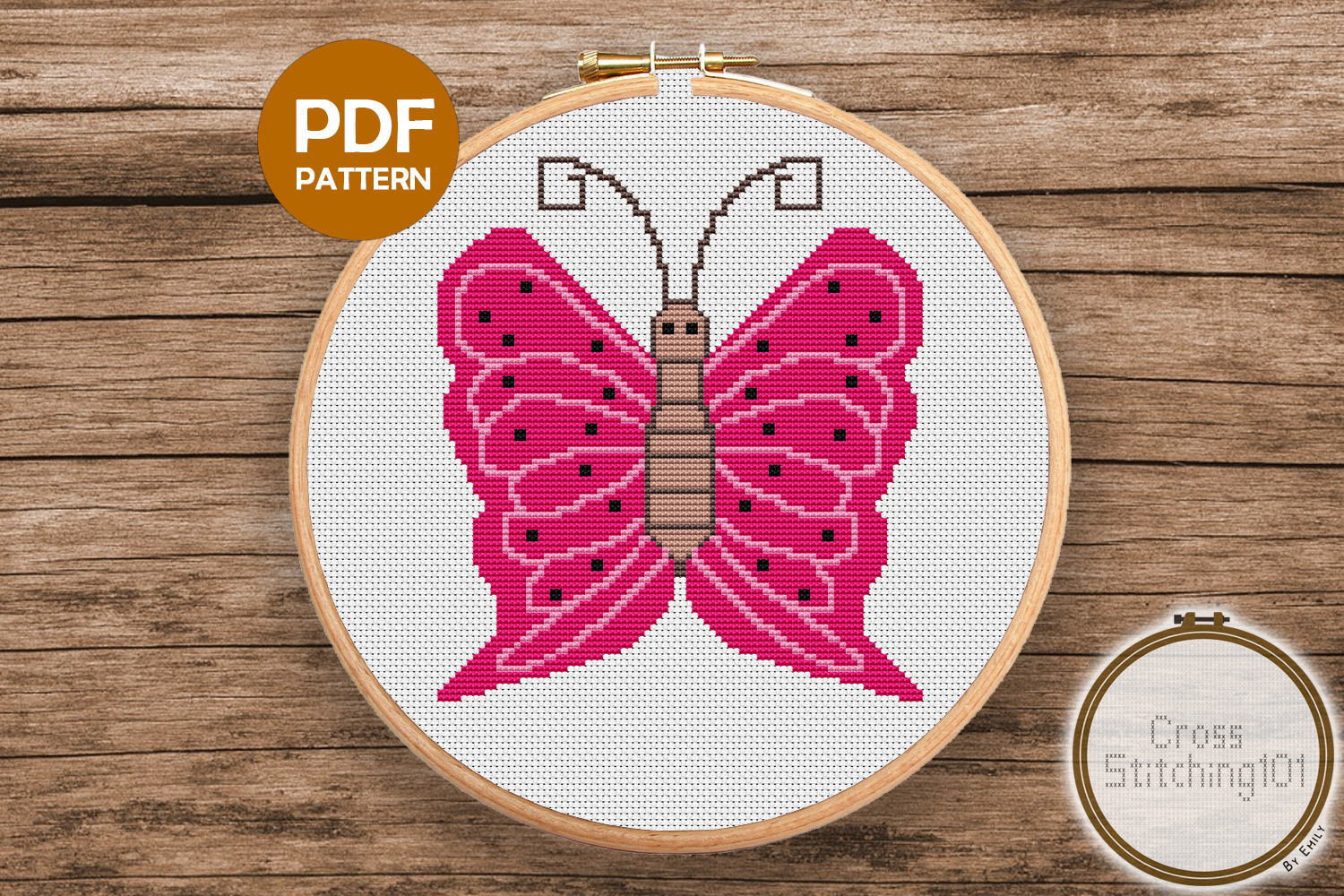 Butterfly Cross Stitch Pattern PDF example image 1
