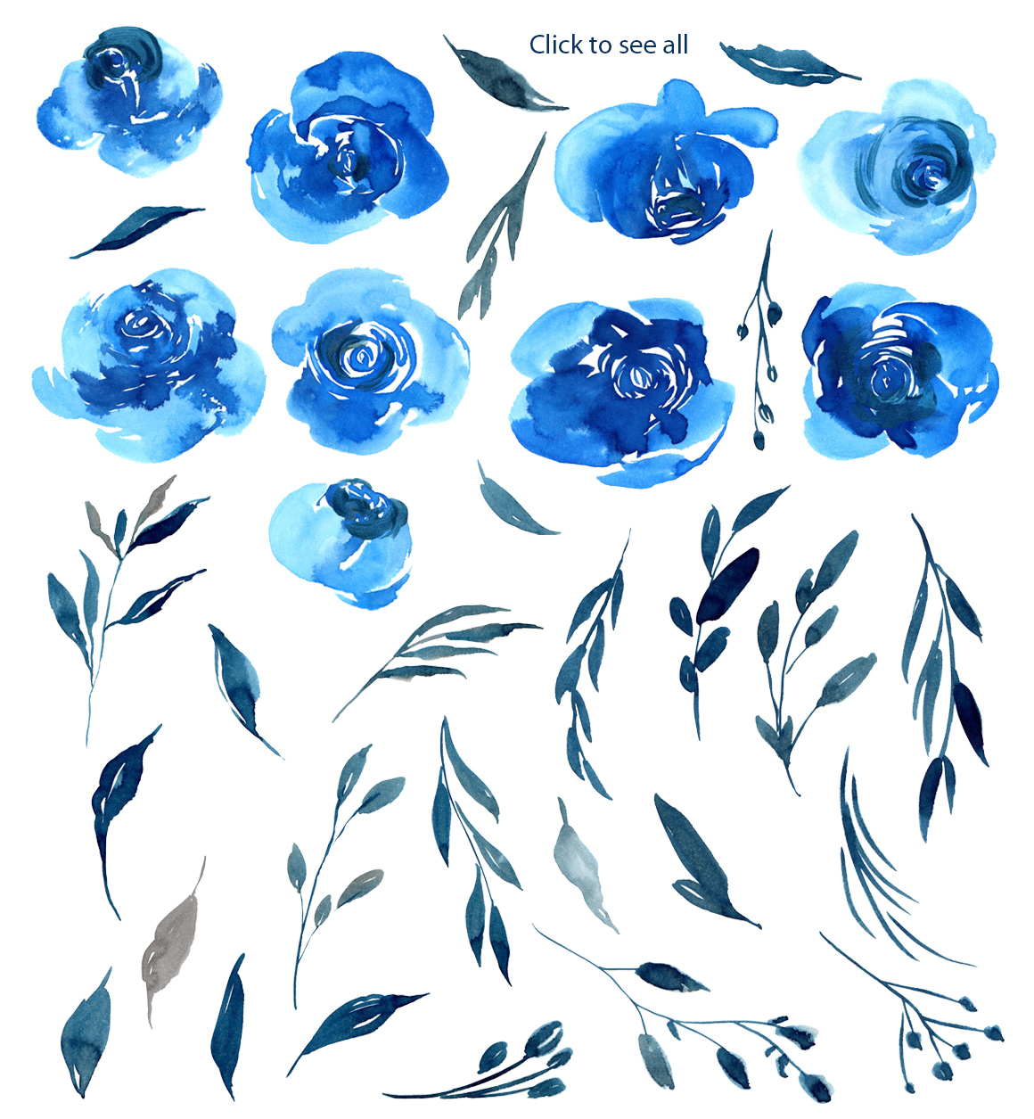 Watercolor Indigo Blue Roses Flowers PNG example image 2