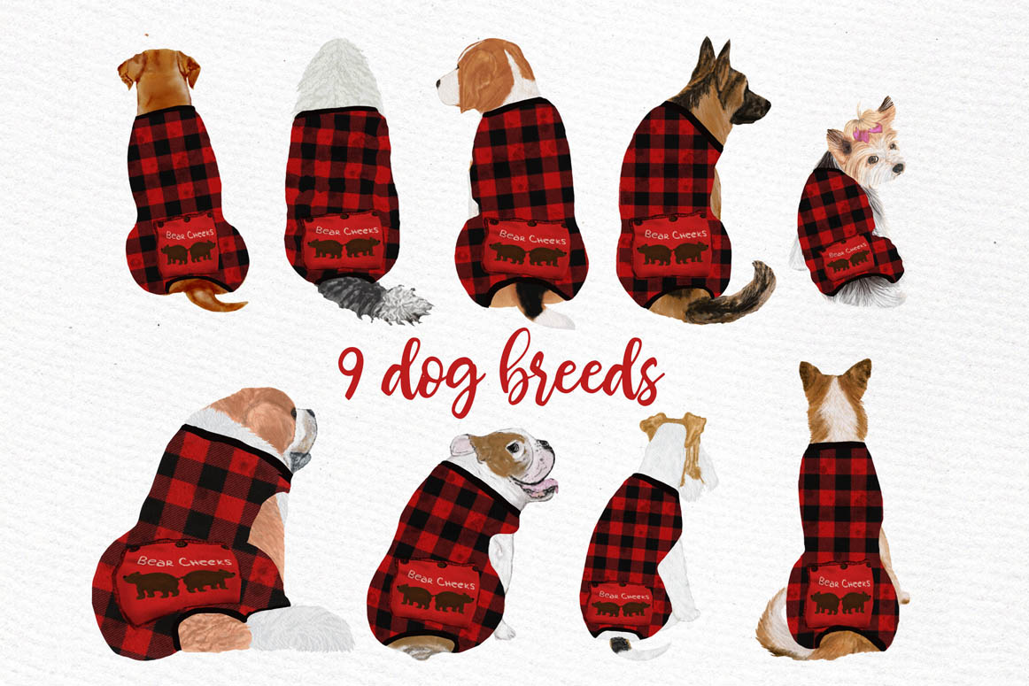 DOGS CLIPART, Baby clipart, Christmas clipart, Buffalo Plaid example image 8