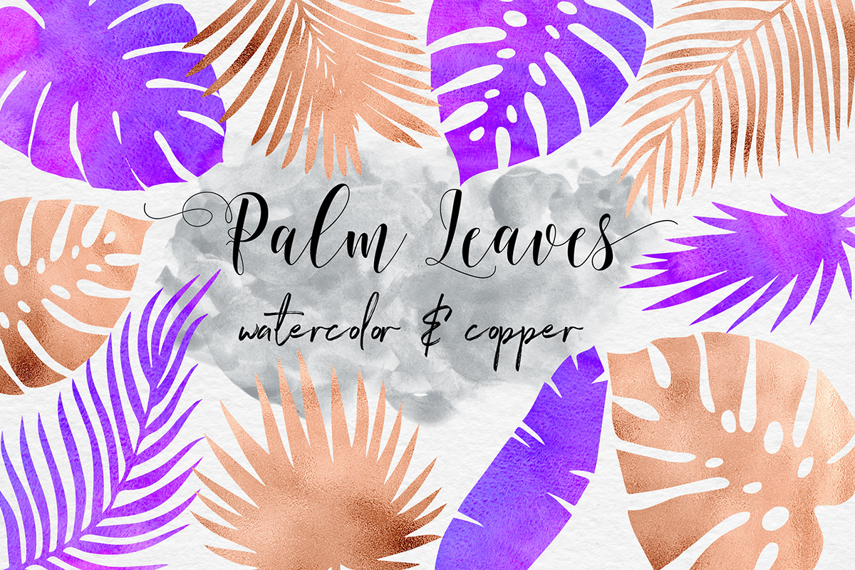 Watercolor & Copper Tropical Leaves example image 1