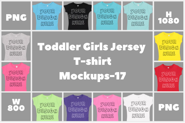 Toddler Gilrs Flat Jersey T Shirt Mockups - 17 example image 1