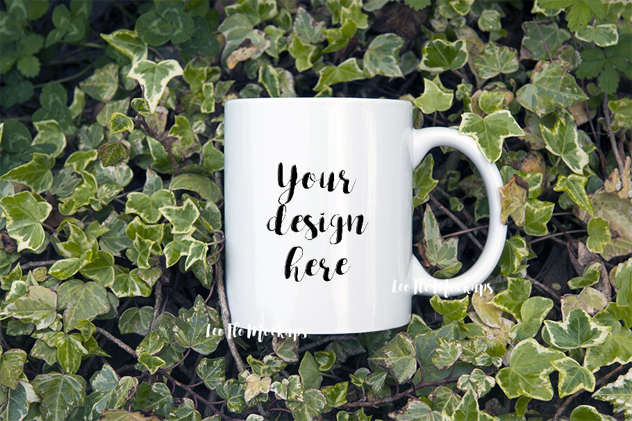 White Coffee 11oz mug mockup green forest nature cup template example image 2