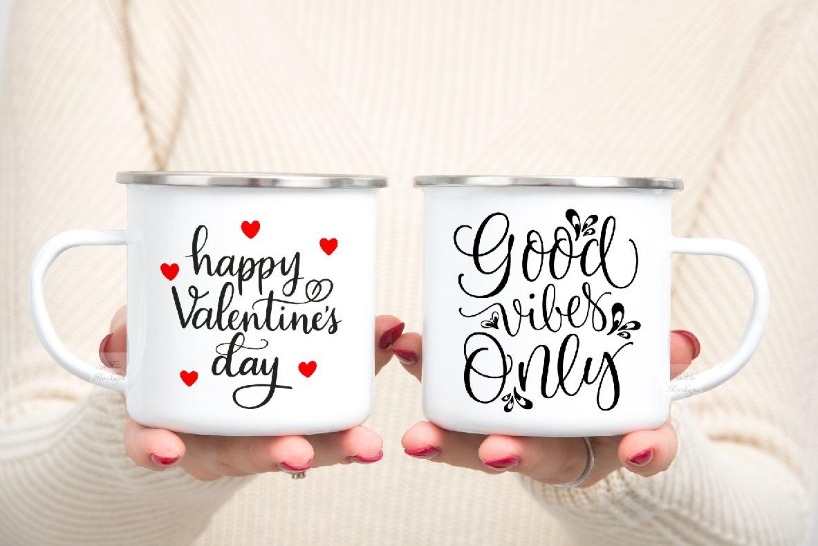 mug mockup woman two 2 enamel mugs camp PSD Camping mock up example image 5
