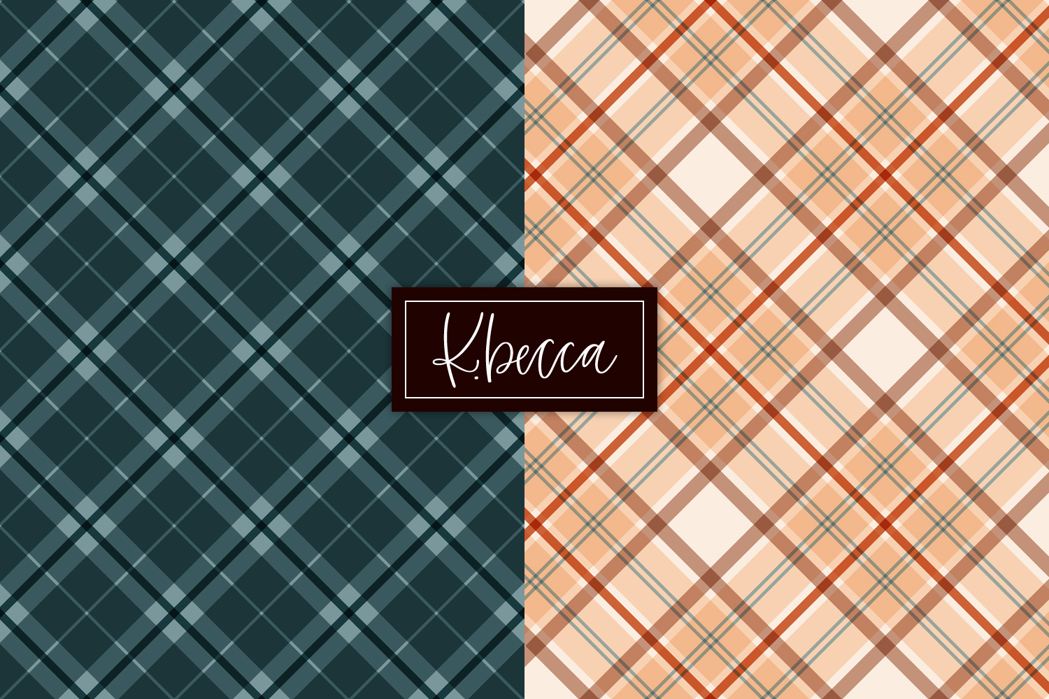 Autumn Fall Plaid Background Patterns Seamless example image 4
