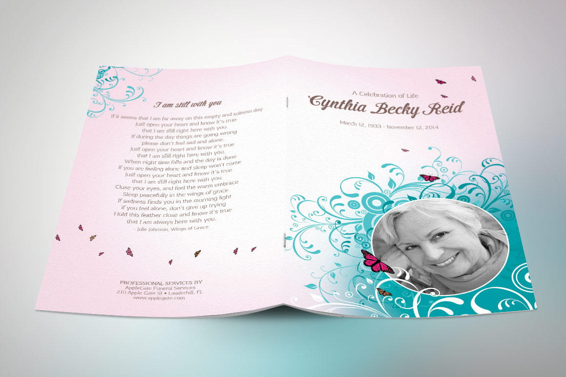 Flourish Funeral Program Template example image 3