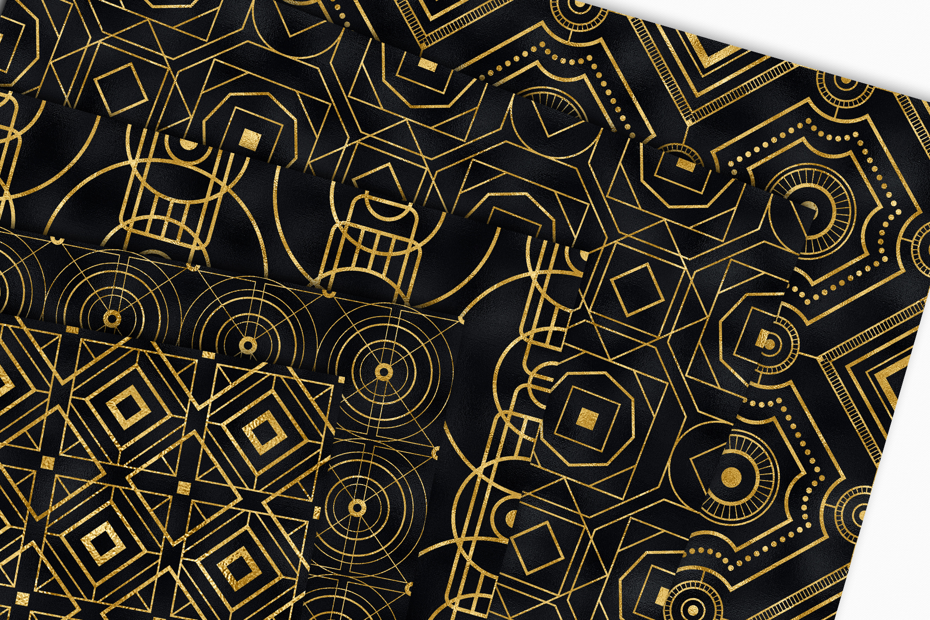 Seamless Art Deco Patterns - Black and Gold Digital Papers example image 6