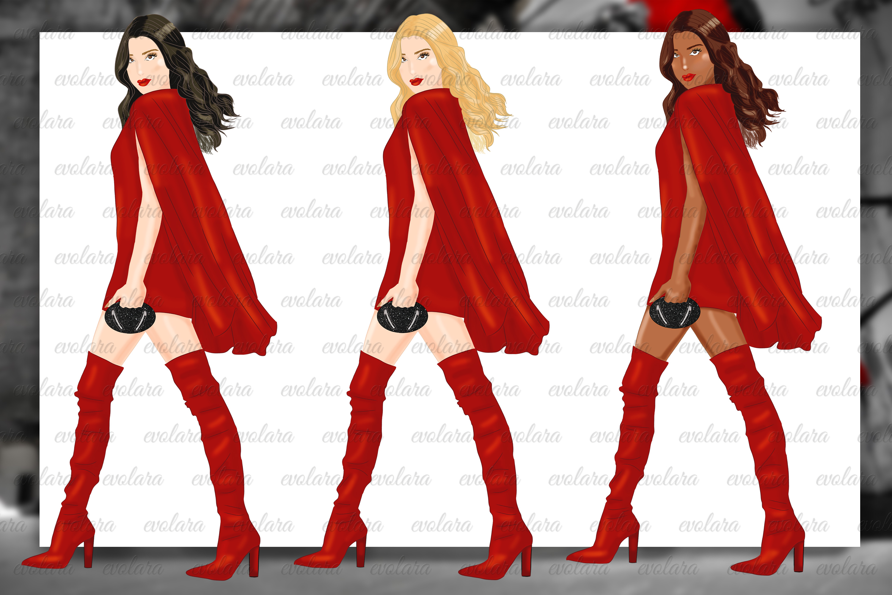Fashion Girl Clipart Heels Clipart Red Fashion Illustrations example image 2