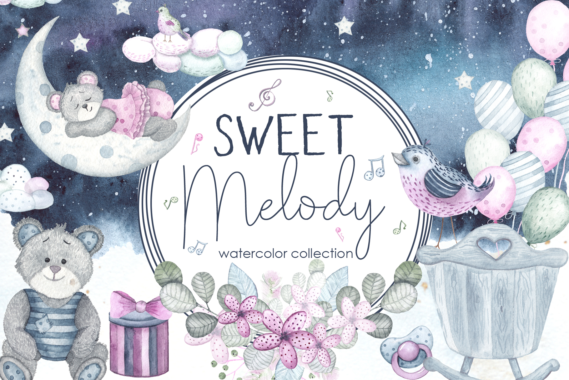 Sweet melody. Watercolor collection example image 1