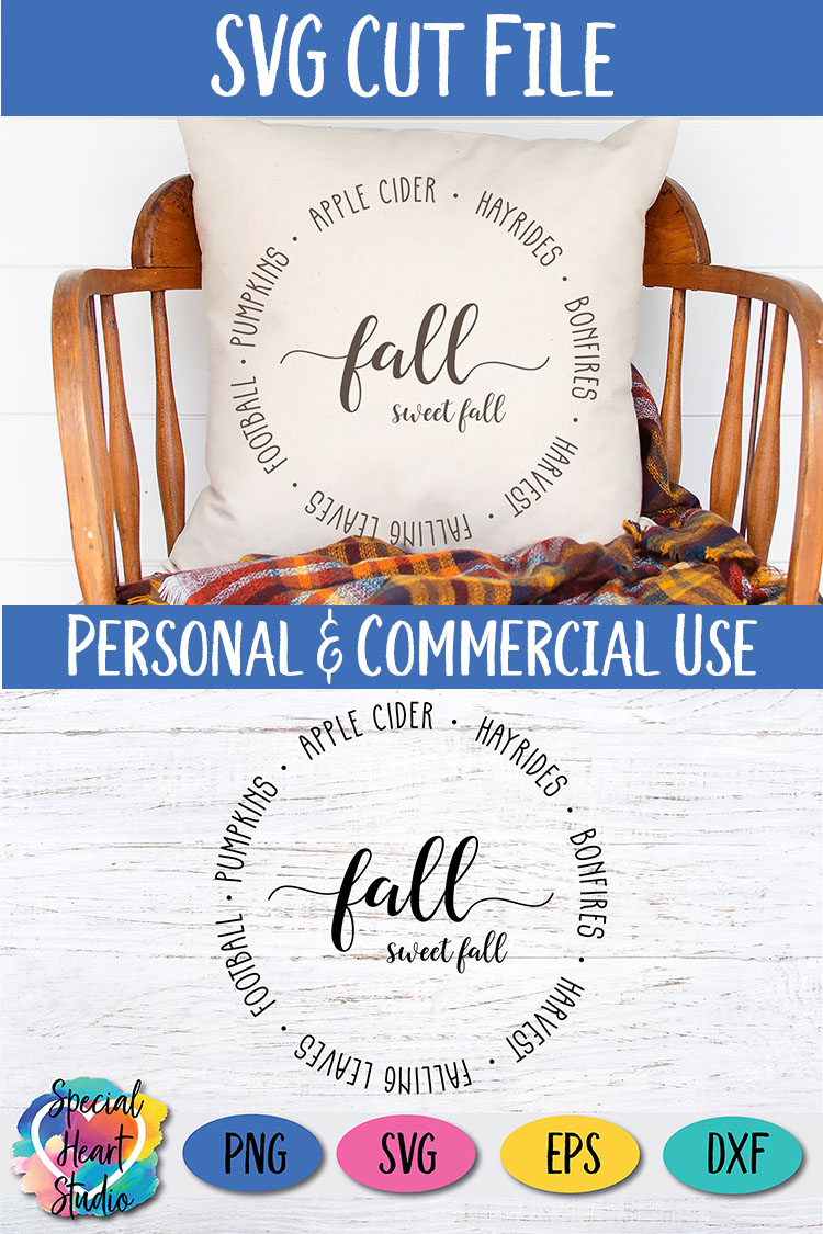 Fall Sweet Fall SVG - Home decor, sign, pillow cut file example image 4