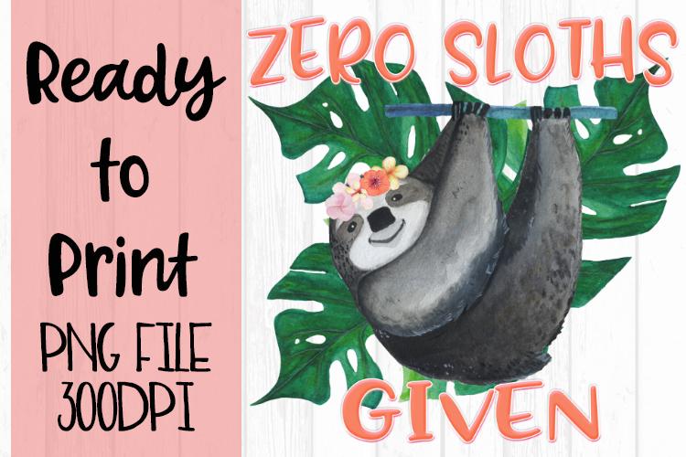 Zero Sloths Given Ready to Print example image 1