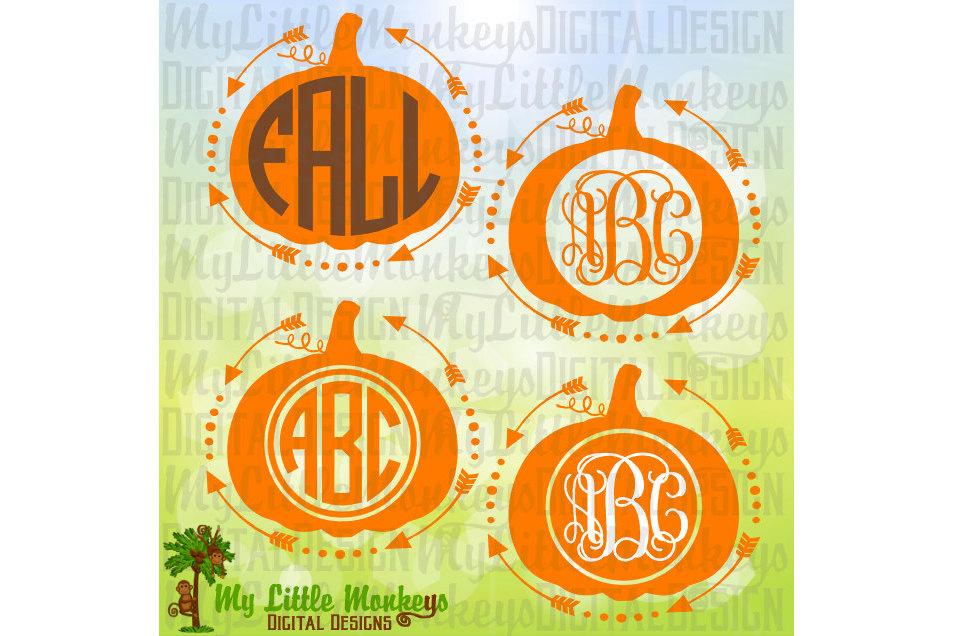 Pumpkin with Arrows Monogram Base example image 1