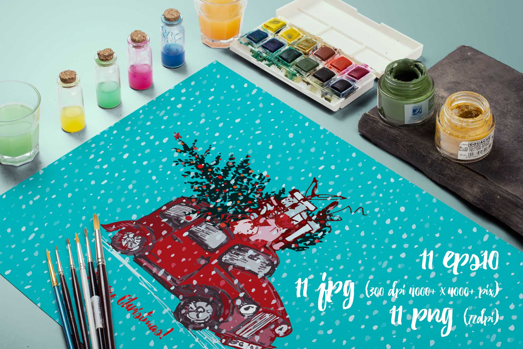 Hand drawn sketch Christmas tree and holiday cars example image 2