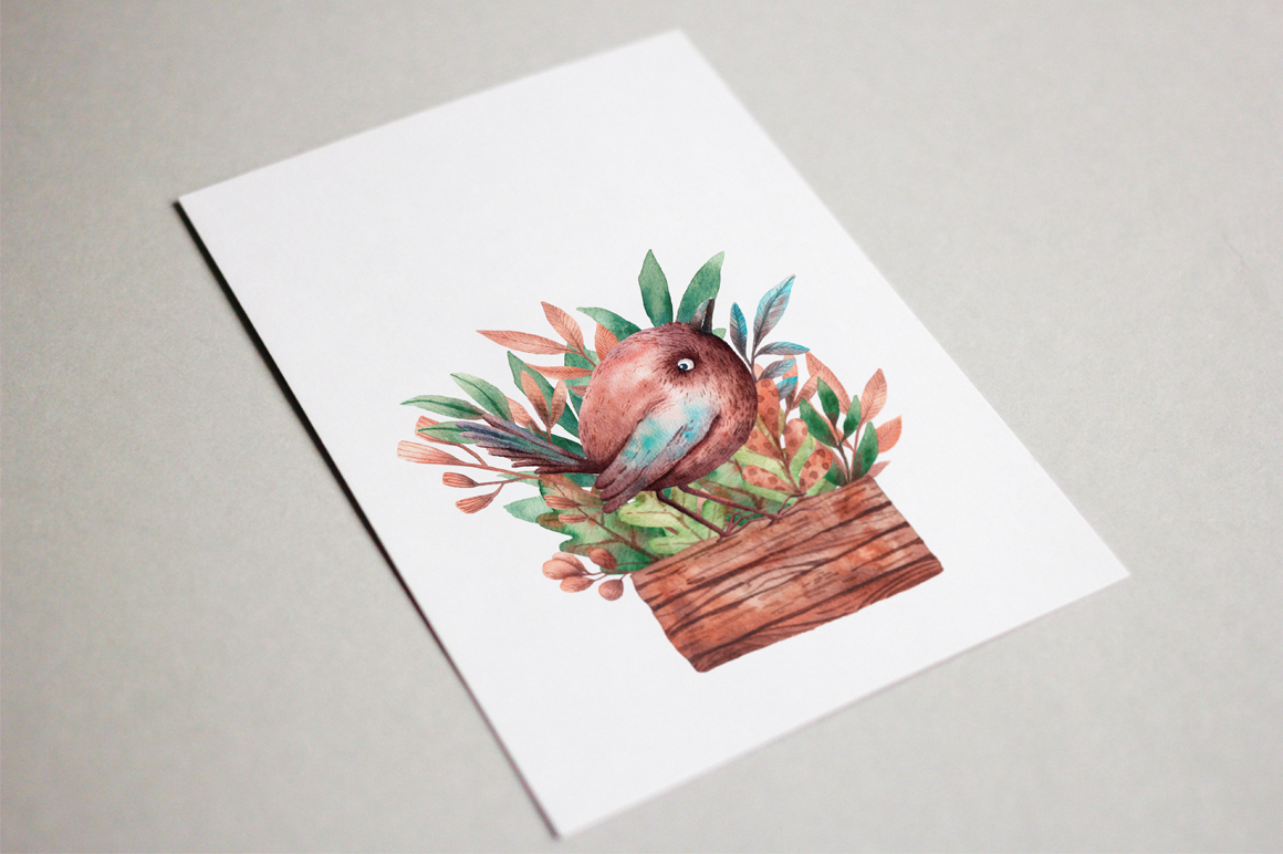 Tiny Birds - Watercolor Clip Art Set example image 9