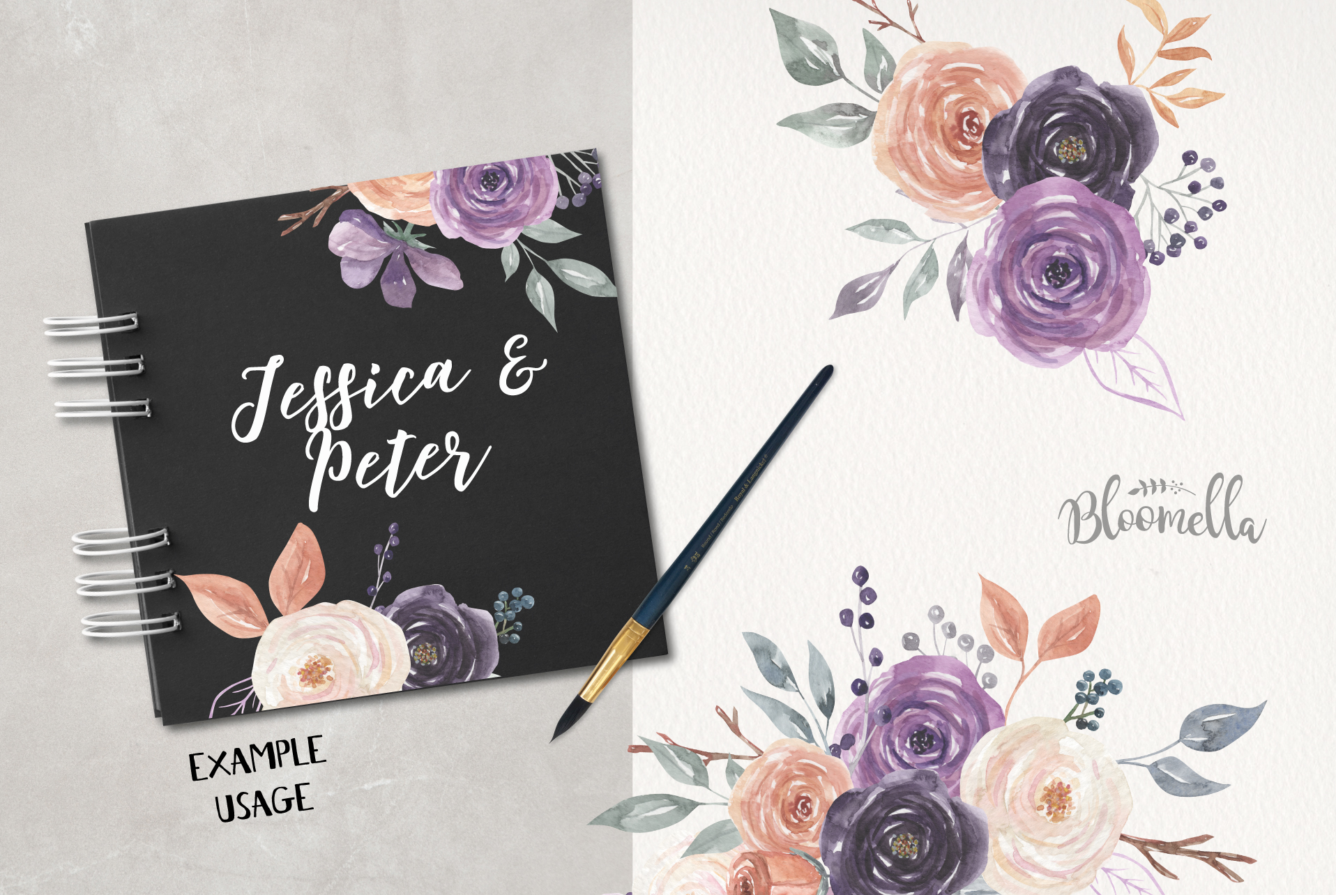 Mystical Watercolor 8 Clipart Bouquets Flowers Berries example image 4