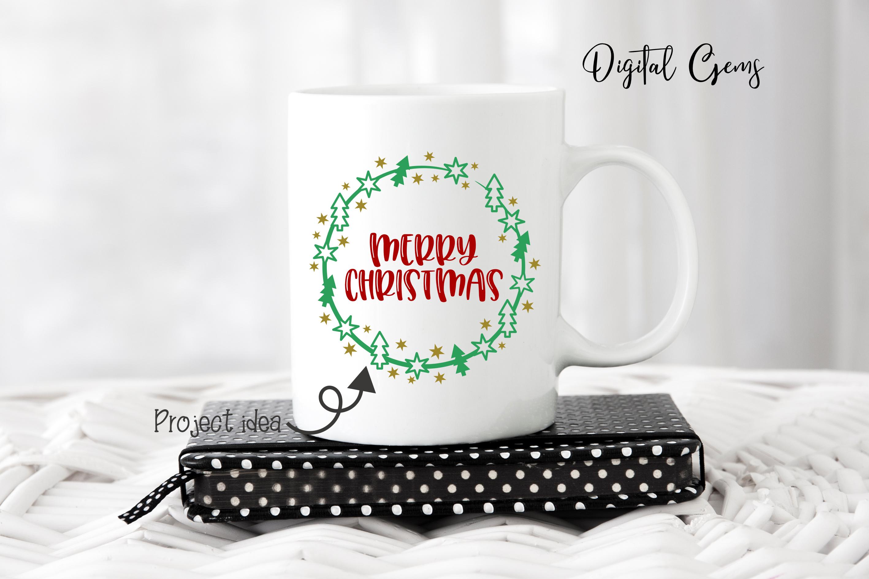 Merry Christmas, wreath monogram frame example image 6