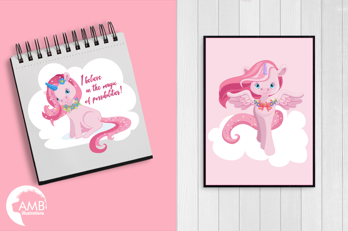 Magical Pink Unicorns clipart, graphics, illustrations AMB-1380 example image 3