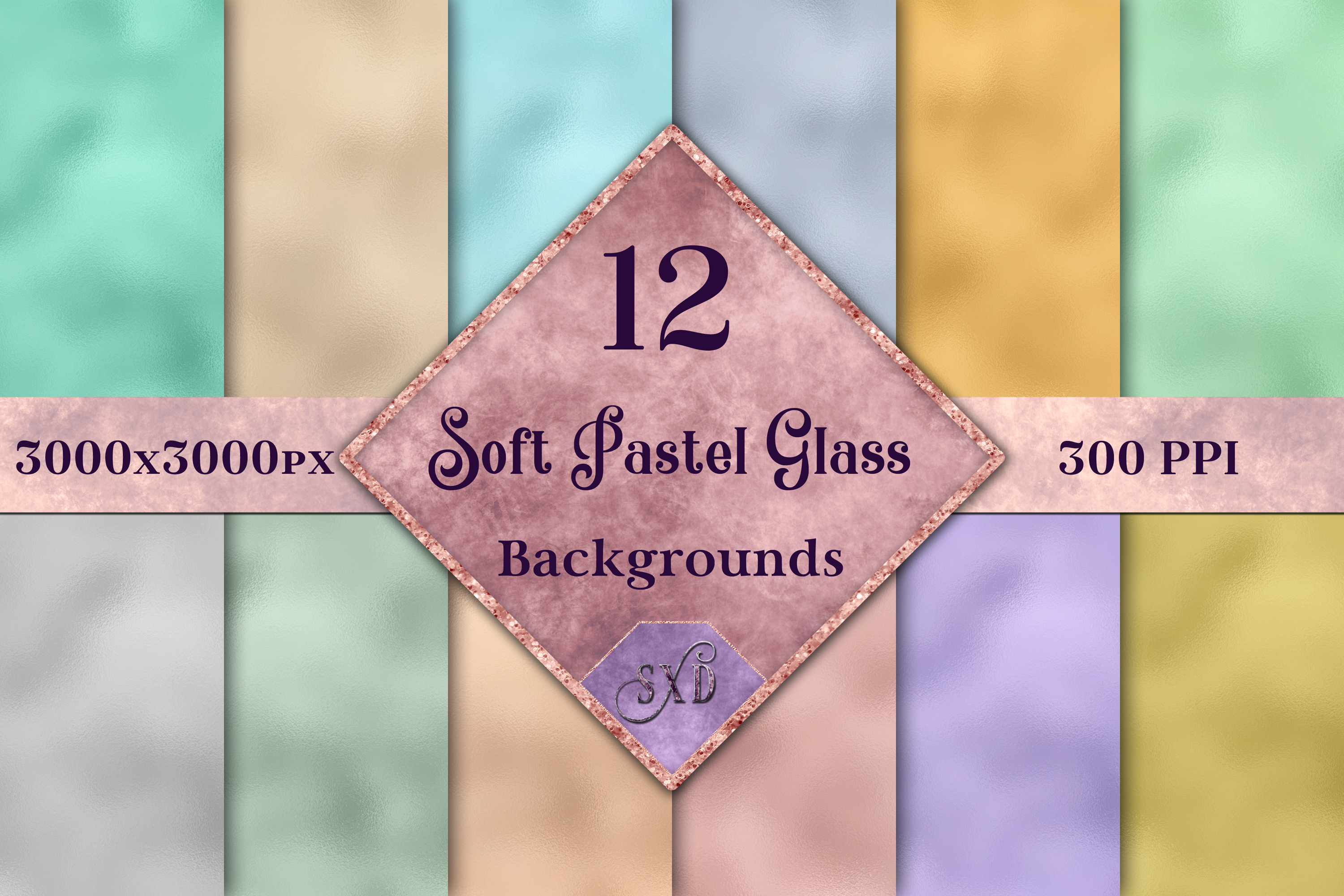 Soft Pastel Glass Backgrounds - 12 Image Textures Set example image 1