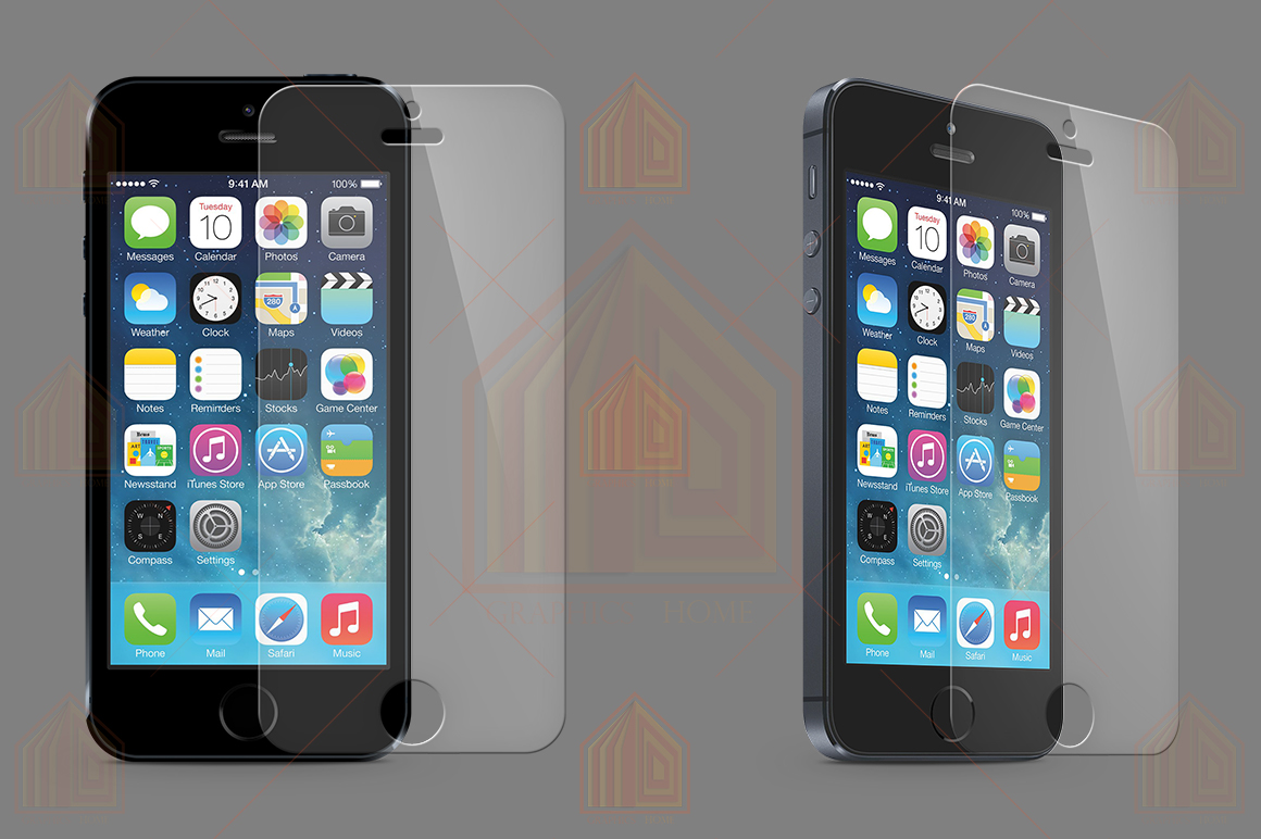 iPhone 5s Tempered Glass  Template  example image 1