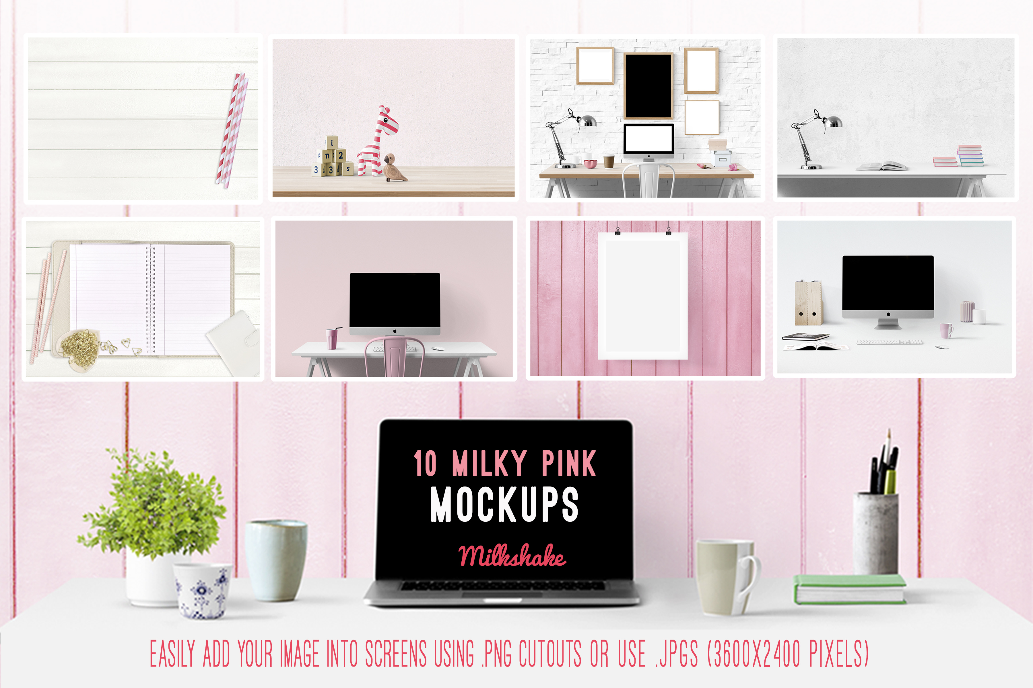 branding kit with pink backgrounds, pink mockups example image 2