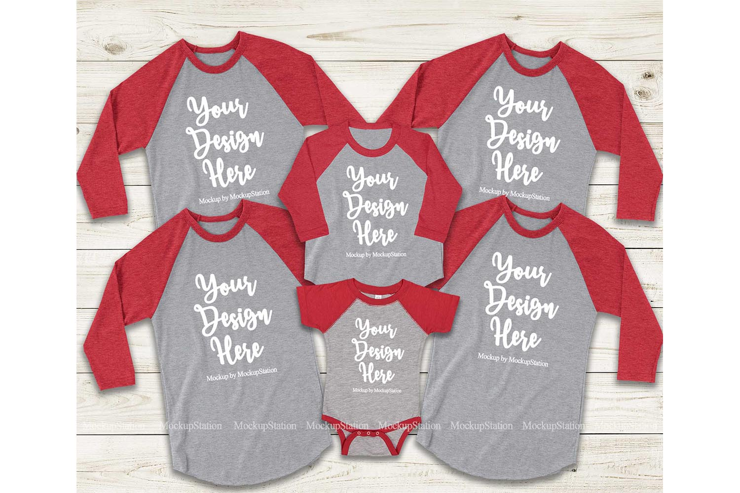 Matching Family Red Gray Raglans Mockup, Adult Baby Toddler example image 1
