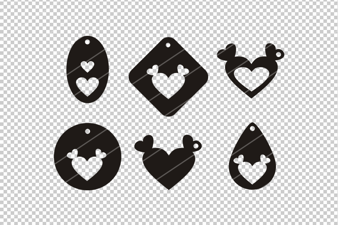Heart earrings,Heart clipart,Heart svg,cutting files,cameo example image 2