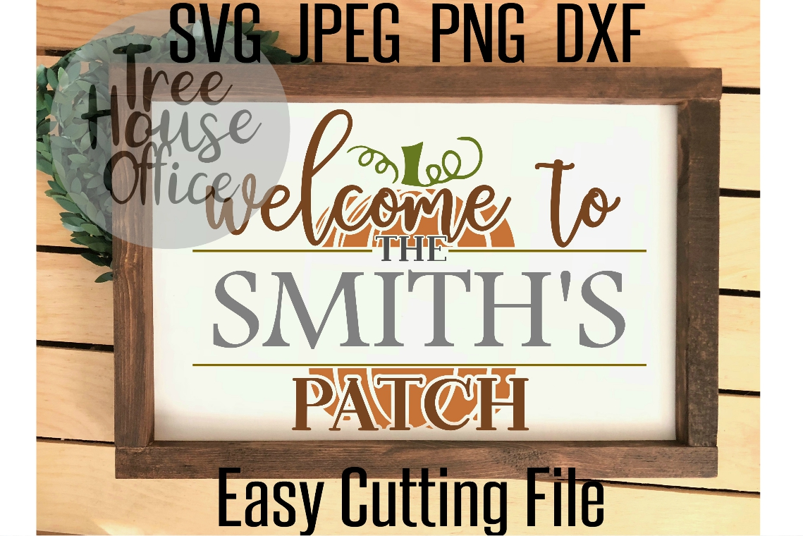 Welcome To Our Patch Front Porch Pumpkin Sign SVG PNG JPEG example image 3