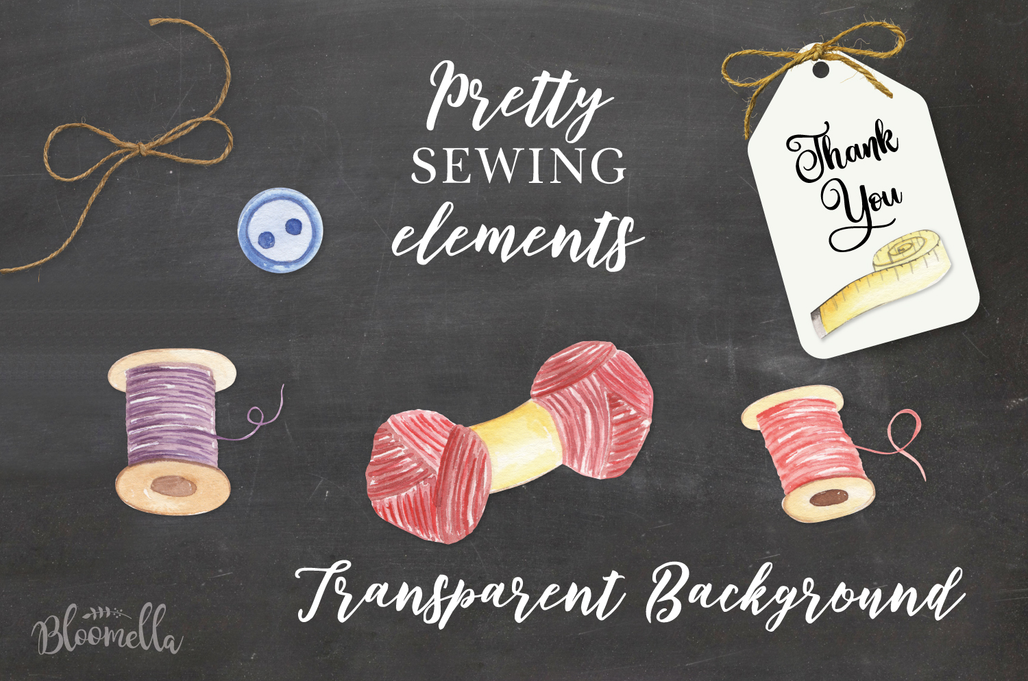 Sewing Pretty Sew Needle Watercolor 13 Elements Wool Stitch example image 3