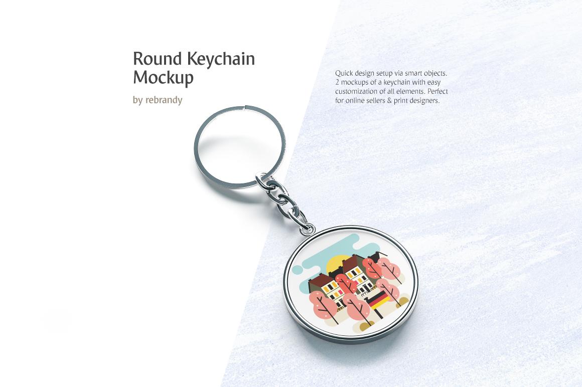 Round Keychain Mockup example image 1