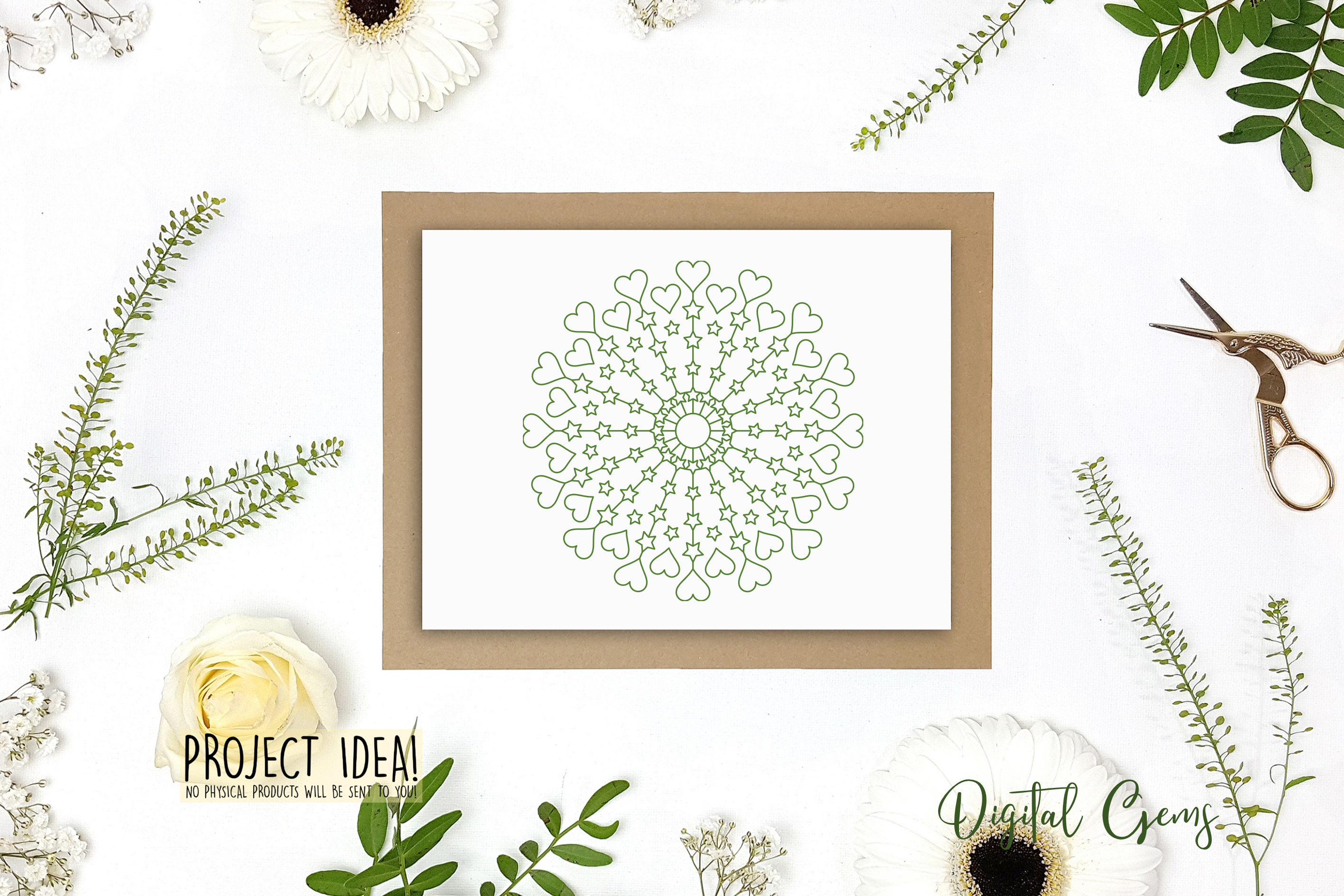 Heart and star mandala, single line sketch / foil quill file example image 5