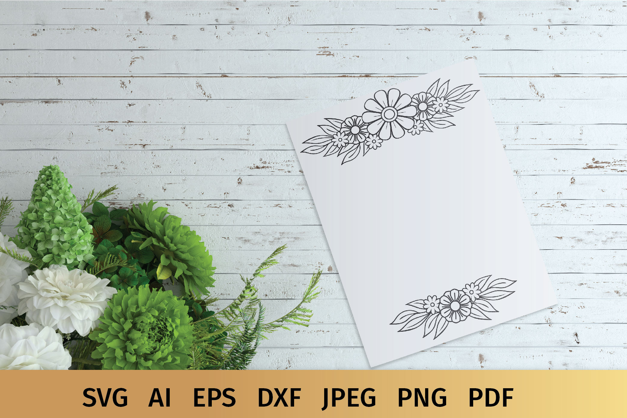 Floral Border and Corner Svg example image 4