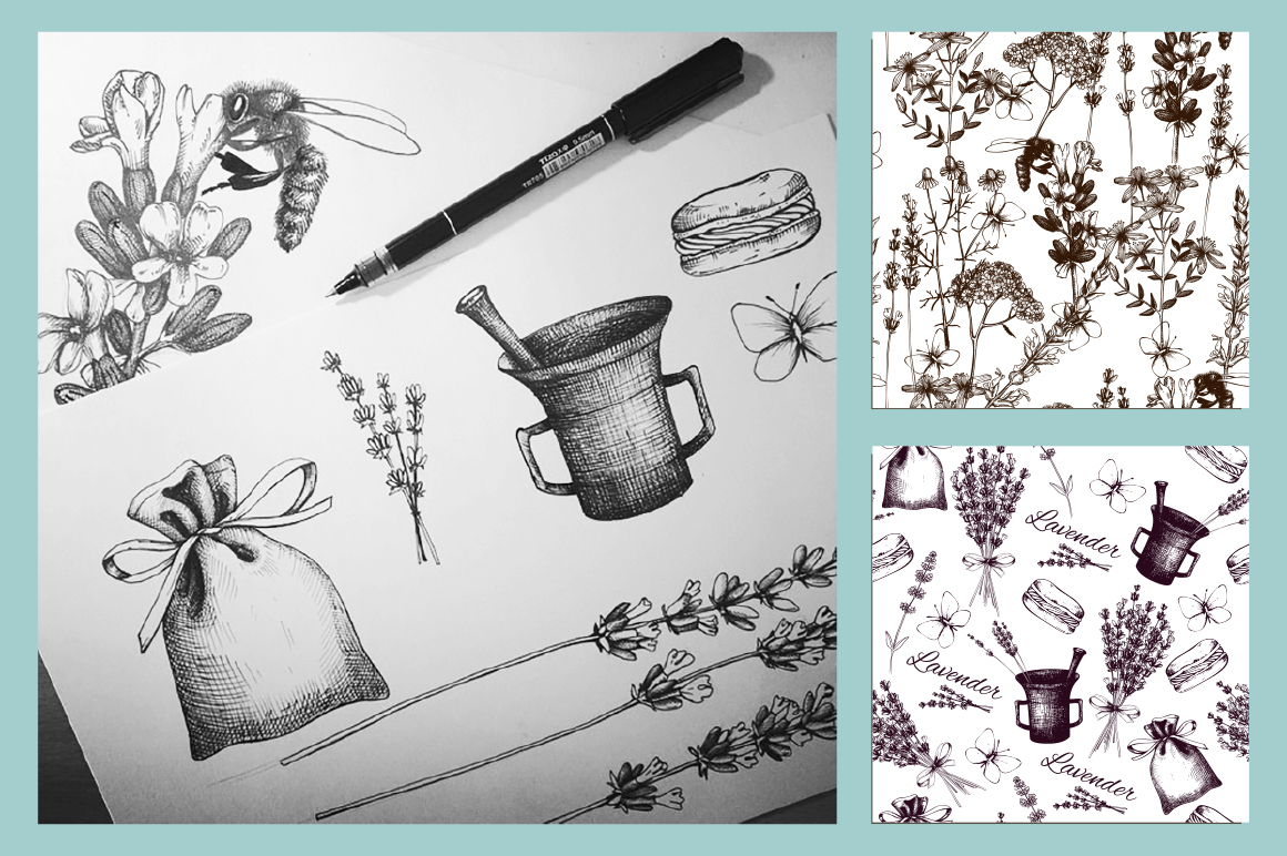Vintage Herbs Patterns example image 4