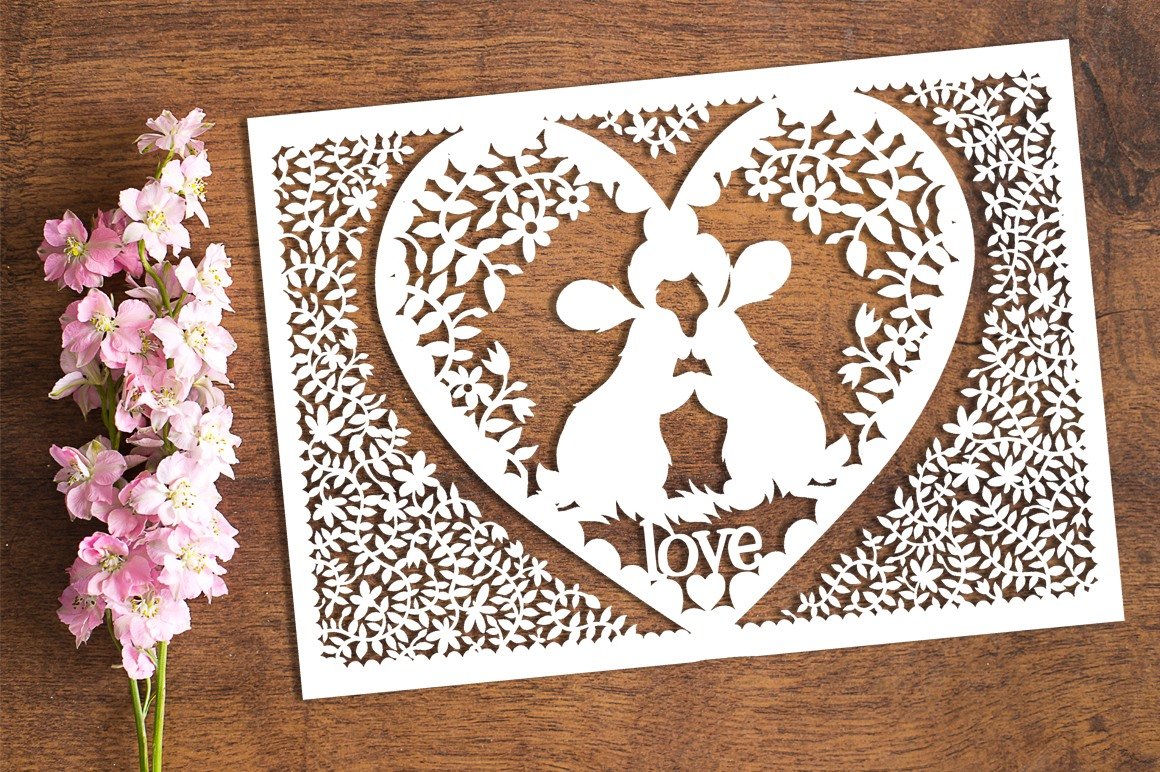 Bunny Love - Paper Cutting Template example image 1