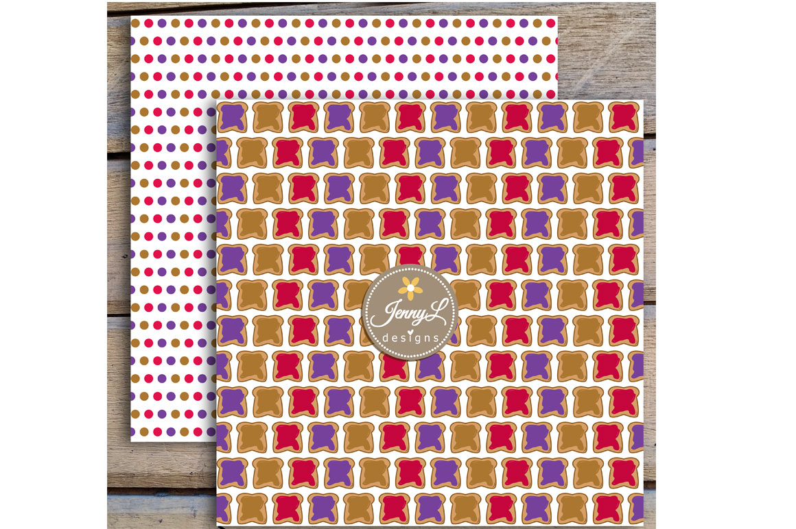 Peanut Butter and Jelly Digital Papers and Jam Clipart example image 5