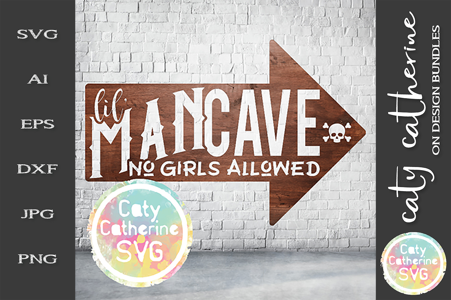 Little Lil' Man Cave No Girls Allowed Wood Sign SVG Cut File example image 1