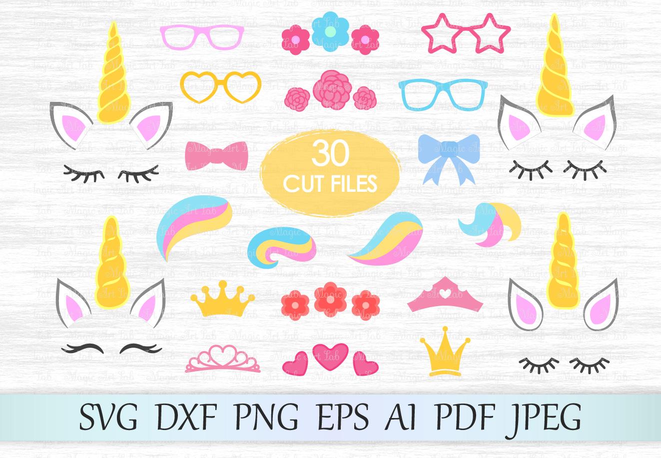 Unicorn svg, Unicorn bundle, Unicorn clipart, Unicorn eyelashes, Unicorn horn svg, Crown svg, Flower clipart, Unicorn hairstyle, Constructor example image 1